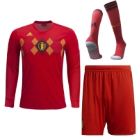 2018 World Cup Belgium Home Long Sleeve Jersey Whole Kit(Shirt+Short+Socks)
