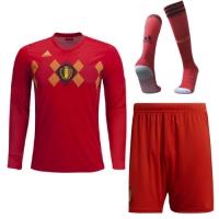 2018 World Cup Belgium Home Long Sleeve Jersey Whole Kit(Shirt+Short+Socks)
