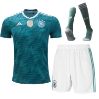 2018 World Cup Germany Away Green&White Jersey Whole Kit(Shirt+Short+Socks)