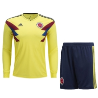 2018 World Cup Colombia Home Long Sleeve Jersey Kit(Shirt+Short+Socks)