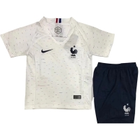 2018 World Cup France Away White Children's Jersey Kit(Shirt+Short)