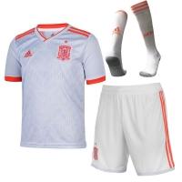 2018 World Cup Spain Away White  Soccer Jersey Whole Kit(Shirt+Short+Socks)