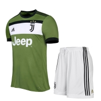 17-18 Juventus third Away Green Soccer Jersey Kit(Shirt+Short)