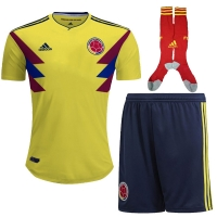 2018 World Cup Colombia Home Soccer Jersey Whole Kit(Shirt+Short+Socks)