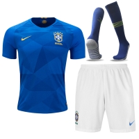 2018 World Cup Brazil Away Blue&White Jersey Kit(Shirt+Short+Socks)