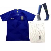 2018 World Cup Brazil Away Navy Children's Jersey Whole Kit(Shirt+Short+Socks)
