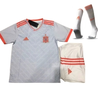 2018 World Cup Spain Away White Children's Jersey Whole Kit(Shirt+Short+Socks)