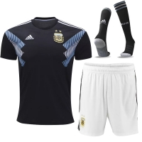 2018 World Cup Argentina Away Black&White Jersey Whole Kit(Shirt+Short+Socks)