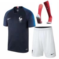 2018 World Cup France Home Soccer Jersey Whole Kit(Shirt+Short+Socks)