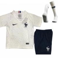 2018 World Cup France Away White Children's Jersey Whole Kit(Shirt+Short+Socks)