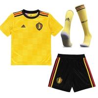 2018 World Cup Belgium Away Yellow Children's Jersey Whole Kit(Shirt+Short+Socks)