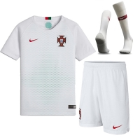 2018 World Cup Portugal Away White Jersey Whole Kit(Shirt+Short+Socks)