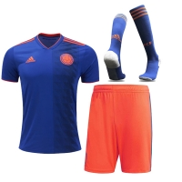 2018 World Cup Colombia Away Navy&Orange Jersey Whole Kit(Shirt+Short+Socks)