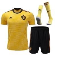 2018 World Cup Belgium Away Yellow&Black Jersey Whole Kit(Shirt+Short+Socks)