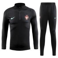 2018 World Cup  Portugal Black Training Kit(Zipper Shirt+Trouser)