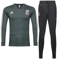 2018 World Cup Mexico Green&Gray Training Kit(Zipper Shirt+Trouser)