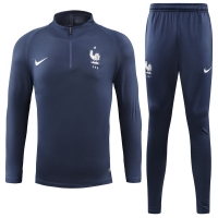 2018 World Cup France Navy  Training Kit(Sweat Top Shirt+Trouser)