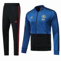 18-19 Mancehster United Blue&Black V-Neck Training Kit(Jacket+Trouser)
