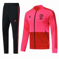 18-19 Mancehster United Pink&Black V-Neck Training Kit(Jacket+Trouser)