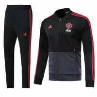18-19 Mancehster United Black&Gray V-Neck Training Kit(Jacket+Trouser)