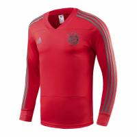 18-19 Bayren Munich Red&Gray Stripe V-Neck Sweat Top Shirt