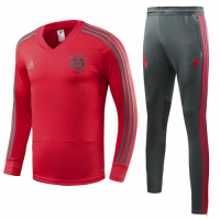 18-19 Bayren Munich Red&Gray Training Kit( Sweat Top Shirt+Trouser)