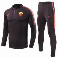 18-19 Roma Black Training Kit(Zipper Sweat Top Shirt+Trousers)
