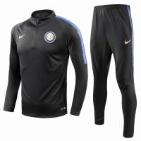18-19 Inter Milan Black Training Kit(Zipper Sweat Top Shirt+Trousers)