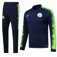 18-19 Manchester City Navy&Green V-Neck  Training Kit(Jacket+Trousers)