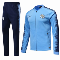18-19 Manchester City Blue&Navy V-Neck  Training Kit(Jacket+Trousers)