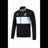 18-19 Real Madrid Black&White High Neck Collar Training Jacket