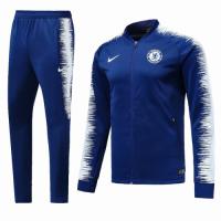 18-19 Chelsea Blue&White V-Neck Training Kit(Jacket+Trousers)