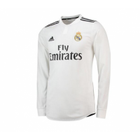 18-19 Real Madrid Home White Long Sleeve Jersey Shirt