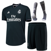 18-19 Real Madrid Away Deep Green Soccer Jersey Whole Kit(Shirt+Short+Socks)