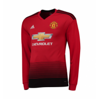18-19 Manchester United Home Long Sleeve Jersey Shirt