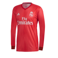 18-19 Real Madrid Third Away Red Long Sleeve Jersey Shirt