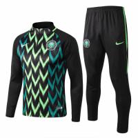 2018 World Cup Nigeria Black Training Kit(Zipper Sweat Top Shirt+Trouser)
