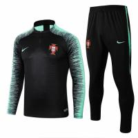 2018 World Cup Portugal Black&Green Training Kit(Zipper Shirt+Trouser)