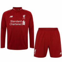 18-19 Liverpool Home Long Sleeve Soccer Jersey Kit(Shirt+Short)