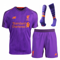 18-19 Liverpool Away Purple Soccer Jersey Whole Kit(Shirt+Short+Socks)