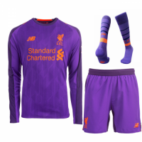 18-19 Liverpool Away Purple Long Sleeve Soccer Jersey Whole Kit(Shirt+Short+Socks)