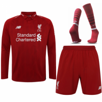 18-19 Liverpool Home Long Sleeve Soccer Jersey Whole Kit(Shirt+Short+Socks)