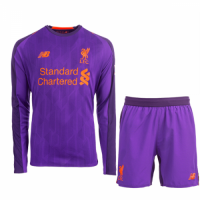 18-19 Liverpool Away Purple Long Sleeve Long Sleeve Soccer Jersey Kit(Shirt+Short)