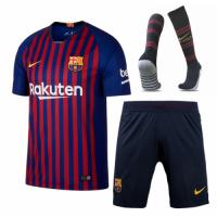18-19 Barcelona Home Player Version Soccer Jersey Whole Kit(Shirt+Short+Socks)