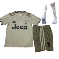 18-19 Juventus Away Gray Children's Jersey Whole Kit(Shirt+Short+Socks)