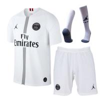18-19 PSG JORDAN 3rd Away White Soccer Whole Jersey Kit(Shirt+Short+Socks)