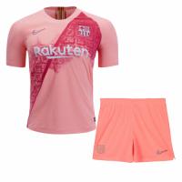 18-19 Barcelona Third Away Pink Soccer Jersey Kit(Shirt+Short)