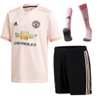 18-19 Manchester United Away Pink Jersey Whole Kit(Shirt+Short+Socks)
