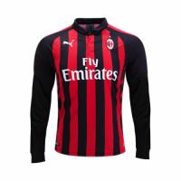 18-19 AC Milan Home Red&Black Long Sleeve Jersey Shirt