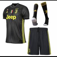 18-19 Juventus Third Away Black Soccer Jersey Whole Kit(Shirt+Short+Socks)